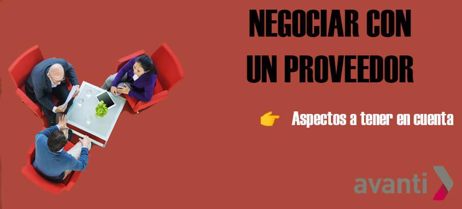 Negociar con un proveedor → Aspectos a tener en cuenta